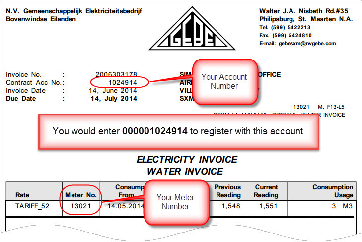You can find your account number and Meter Number on your electric bill as shown below.